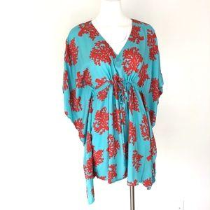 Escapada   Coral Reef & Aqua Teal Tunic Dress